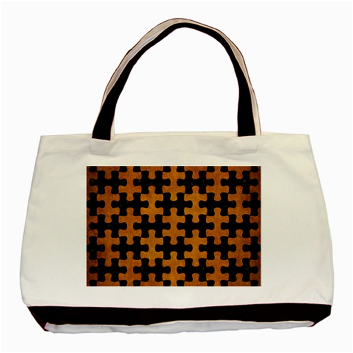 PUZZLE1 BLACK MARBLE & YELLOW GRUNGE Basic Tote Bag