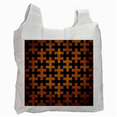 Puzzle1 Black Marble & Yellow Grunge Recycle Bag (two Side)