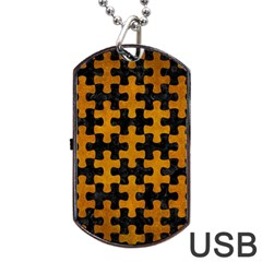 Puzzle1 Black Marble & Yellow Grunge Dog Tag Usb Flash (two Sides)