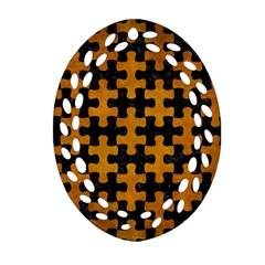 Puzzle1 Black Marble & Yellow Grunge Ornament (oval Filigree)