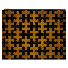 Puzzle1 Black Marble & Yellow Grunge Cosmetic Bag (xxxl)