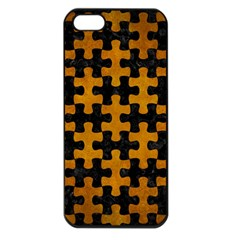Puzzle1 Black Marble & Yellow Grunge Apple Iphone 5 Seamless Case (black)