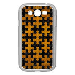 Puzzle1 Black Marble & Yellow Grunge Samsung Galaxy Grand Duos I9082 Case (white)