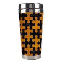 Puzzle1 Black Marble & Yellow Grunge Stainless Steel Travel Tumblers