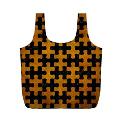 Puzzle1 Black Marble & Yellow Grunge Full Print Recycle Bags (m)
