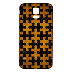 Puzzle1 Black Marble & Yellow Grunge Samsung Galaxy S5 Back Case (white)