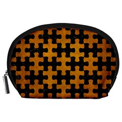 Puzzle1 Black Marble & Yellow Grunge Accessory Pouches (large)