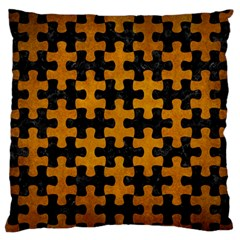 Puzzle1 Black Marble & Yellow Grunge Standard Flano Cushion Case (two Sides)