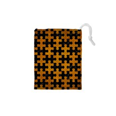 Puzzle1 Black Marble & Yellow Grunge Drawstring Pouches (xs)
