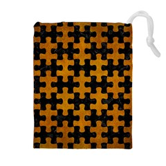 Puzzle1 Black Marble & Yellow Grunge Drawstring Pouches (extra Large)