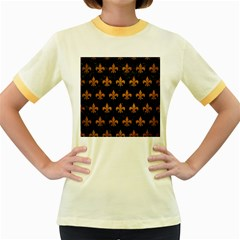 Royal1 Black Marble & Yellow Grunge Women s Fitted Ringer T Shirts