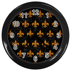 Royal1 Black Marble & Yellow Grunge Wall Clocks (black)
