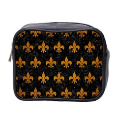 Royal1 Black Marble & Yellow Grunge Mini Toiletries Bag 2 Side