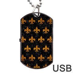 Royal1 Black Marble & Yellow Grunge Dog Tag Usb Flash (two Sides)