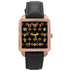 Royal1 Black Marble & Yellow Grunge Rose Gold Leather Watch