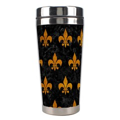 Royal1 Black Marble & Yellow Grunge Stainless Steel Travel Tumblers
