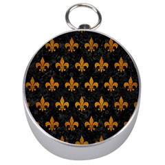 Royal1 Black Marble & Yellow Grunge Silver Compasses