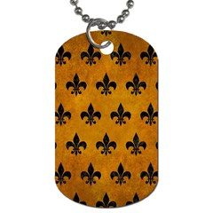 Royal1 Black Marble & Yellow Grunge (r) Dog Tag (two Sides)