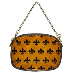 Royal1 Black Marble & Yellow Grunge (r) Chain Purses (two Sides)