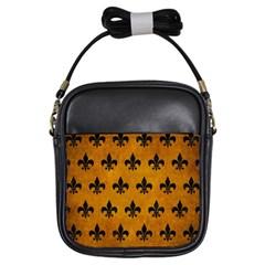 Royal1 Black Marble & Yellow Grunge (r) Girls Sling Bags