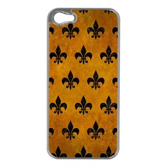 Royal1 Black Marble & Yellow Grunge (r) Apple Iphone 5 Case (silver)