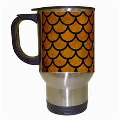 Scales1 Black Marble & Yellow Grunge Travel Mugs (white)
