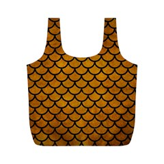 Scales1 Black Marble & Yellow Grunge Full Print Recycle Bags (m)