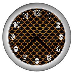 Scales1 Black Marble & Yellow Grunge (r) Wall Clocks (silver)