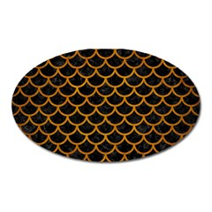 Scales1 Black Marble & Yellow Grunge (r) Oval Magnet