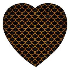 Scales1 Black Marble & Yellow Grunge (r) Jigsaw Puzzle (heart)