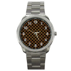Scales1 Black Marble & Yellow Grunge (r) Sport Metal Watch