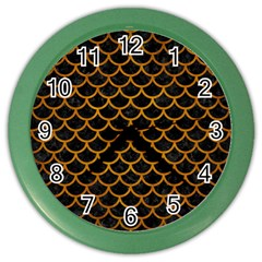 Scales1 Black Marble & Yellow Grunge (r) Color Wall Clocks