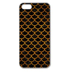 Scales1 Black Marble & Yellow Grunge (r) Apple Seamless Iphone 5 Case (clear)