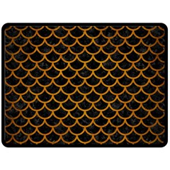 Scales1 Black Marble & Yellow Grunge (r) Double Sided Fleece Blanket (large)