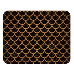 Scales1 Black Marble & Yellow Grunge (r) Double Sided Flano Blanket (large)