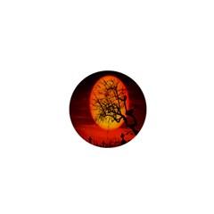 Helloween Midnight Graveyard Silhouette 1  Mini Buttons