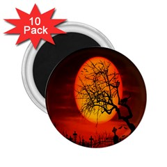 Helloween Midnight Graveyard Silhouette 2 25  Magnets (10 Pack)