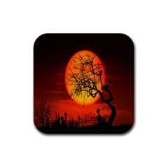 Helloween Midnight Graveyard Silhouette Rubber Coaster (square)