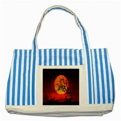 Helloween Midnight Graveyard Silhouette Striped Blue Tote Bag
