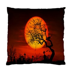 Helloween Midnight Graveyard Silhouette Standard Cushion Case (two Sides)