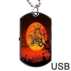 Helloween Midnight Graveyard Silhouette Dog Tag Usb Flash (two Sides)