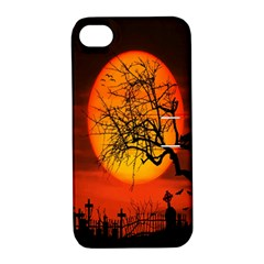 Helloween Midnight Graveyard Silhouette Apple Iphone 4/4s Hardshell Case With Stand