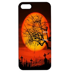 Helloween Midnight Graveyard Silhouette Apple Iphone 5 Hardshell Case With Stand