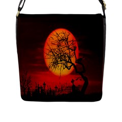 Helloween Midnight Graveyard Silhouette Flap Messenger Bag (l)