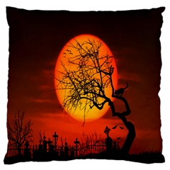 Helloween Midnight Graveyard Silhouette Standard Flano Cushion Case (two Sides)