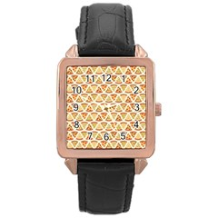 Food Pizza Bread Pasta Triangle Rose Gold Leather Watch
