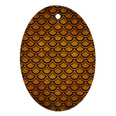 Scales2 Black Marble & Yellow Grunge Ornament (oval)