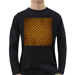 Scales2 Black Marble & Yellow Grunge Long Sleeve Dark T Shirts