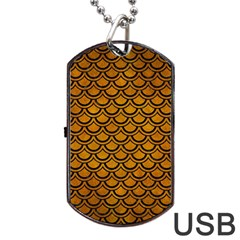 Scales2 Black Marble & Yellow Grunge Dog Tag Usb Flash (one Side)