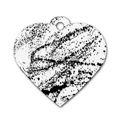 Ink Splatter Texture Dog Tag Heart (two Sides)